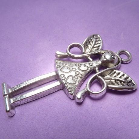 1ks Přívěsek velký anděl antické stříbro 5,8cm