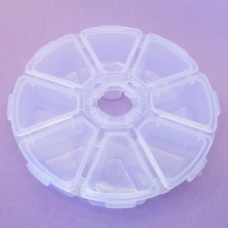 Plastový box, organizér na korálky kulatý 105mm - 8 přihrádek