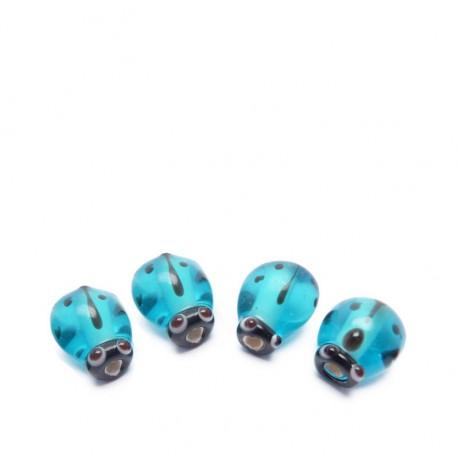 4ks Průhledné modré vinuté perle beruška