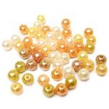 50ks Plastové perle 6mm mix žluté