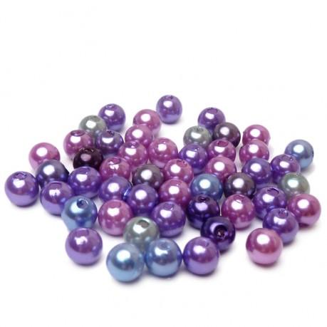 50ks Plastové perle 6mm mix fialové