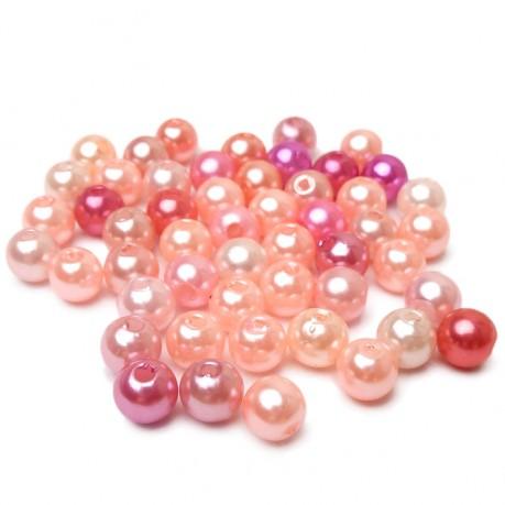 50ks Plastové perle 6mm mix růžové