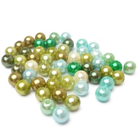 50ks Plastové perle 6mm mix zelené