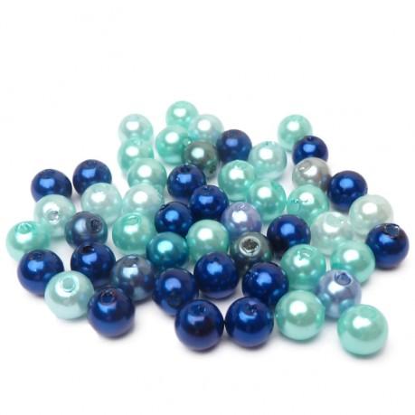 50ks Plastové perle 6mm modrý mix