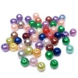 50ks Plastové perle 6mm barevný mix