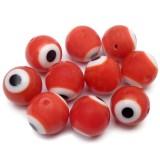 10ks Ručně vinuté perle 10mm oko červené