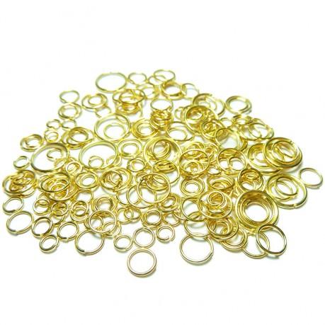 10g Kroužky zlaté barvy mix velikostí 4~10mm