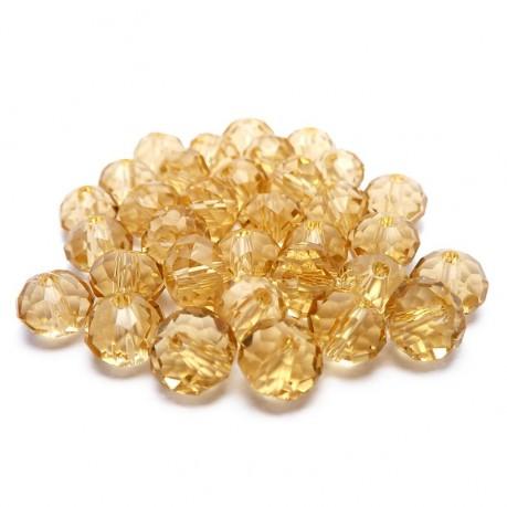 30ks Skleněné korálky broušené ~ 6mm žluté