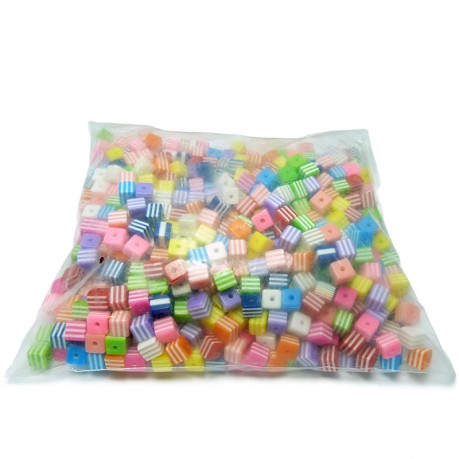 1000ks / 518g Plastové kostičky 8x8mm MIX barev