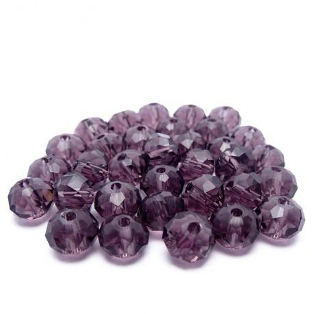 30ks Skleněné korálky broušené ~ 6mm fialové