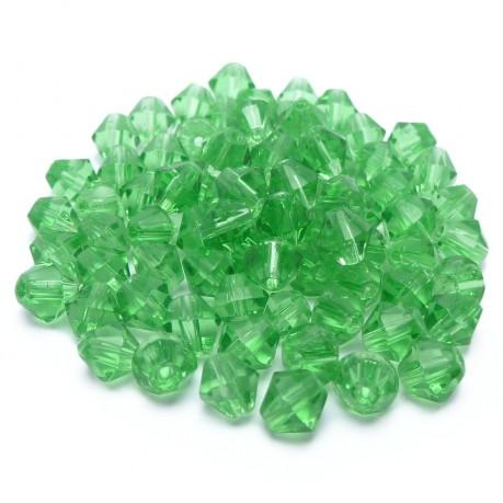 ~78ks Skleněné korálky broušené ~ 4mm zelené