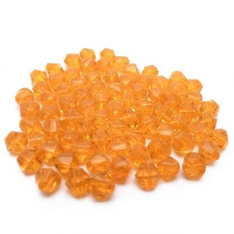 ~78ks Skleněné korálky broušené ~ 4mm oranžové