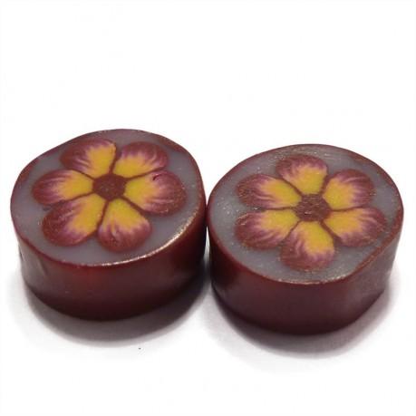Fimo korálky se žlutou kytičkou (tmavě růžové)