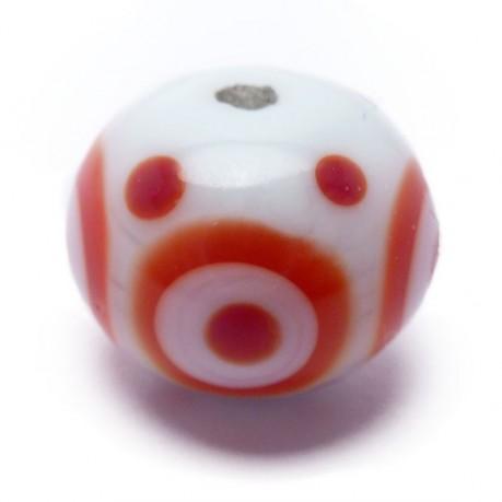 Velká vinutá perle (bílá s potiskem)