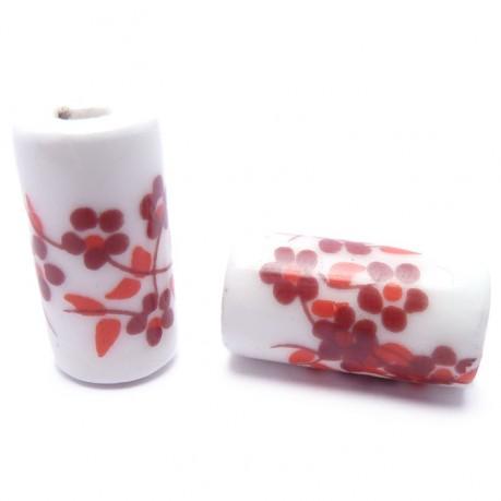 Porcelánové korálky (červené kytičky)