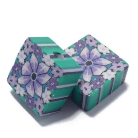 Fimo kytičkové čtverečky (fialovo-zelené)