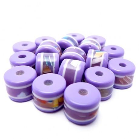 Plastové korálky se vzorkem (fialové)