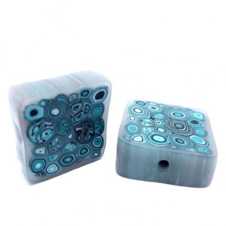 Fimo korálky (modro-bílé)