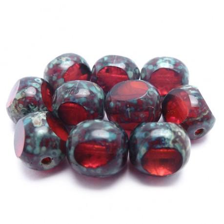 Ploškované korálky (tmavě červené)