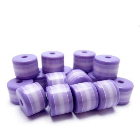 Plastové proužkované korálky (fialové)
