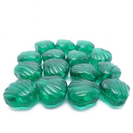 Mačkané korálky - mušličky (tmavě zelené)