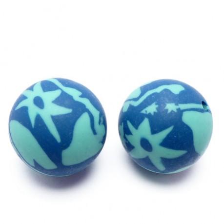 2ks Fimo korálky ručně dělané (modro-tyrkysové)