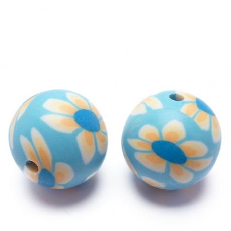 2ks Fimo korálky ručně dělané (modro-žluté)
