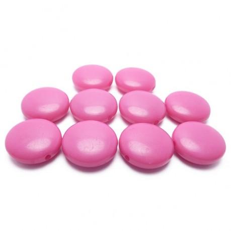 10ks Tmavě růžové lentilky plastové