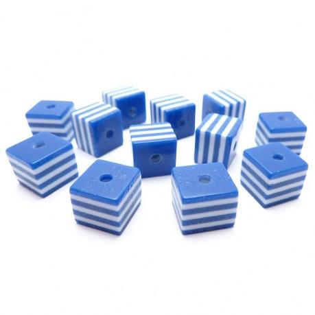 12ks plastové kostky modro bílé