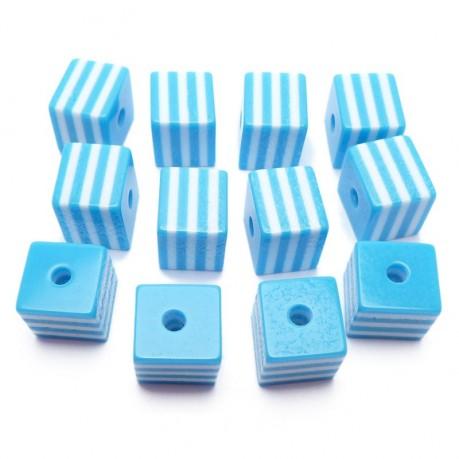 12ks Kostka světle modro bílá plastová