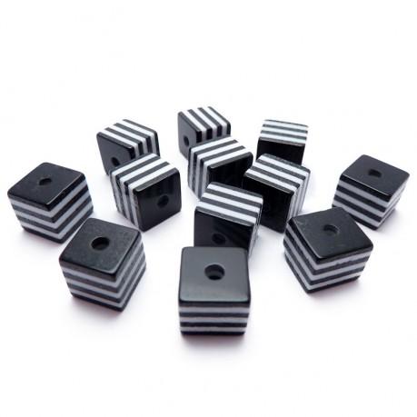 12ks Kostka černo bílá plastová