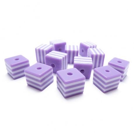 12ks Kostka fialovo bílá plastová