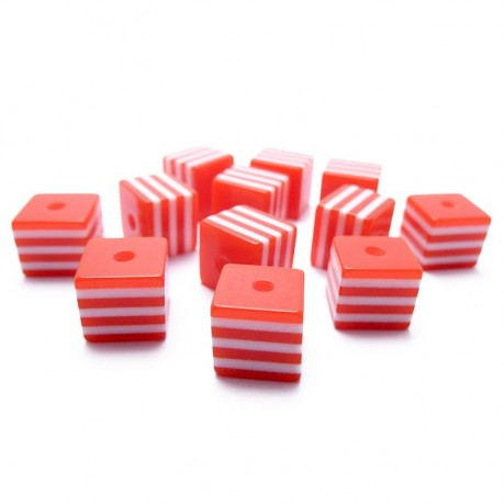 12ks Kostka červeno bílá plastová