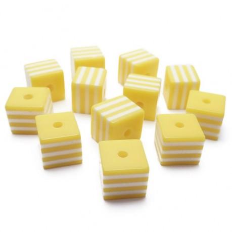 12ks Kostka žluto bílá plastová