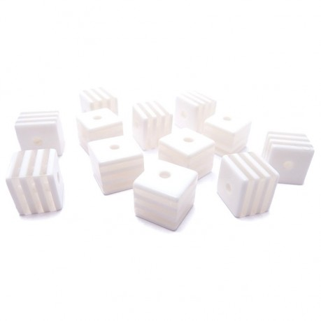 12ks Kostka bílo průhledná plastová