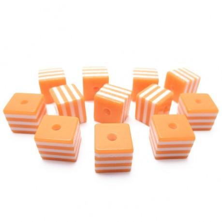 12ks Kostka oranžovo bílá plastová