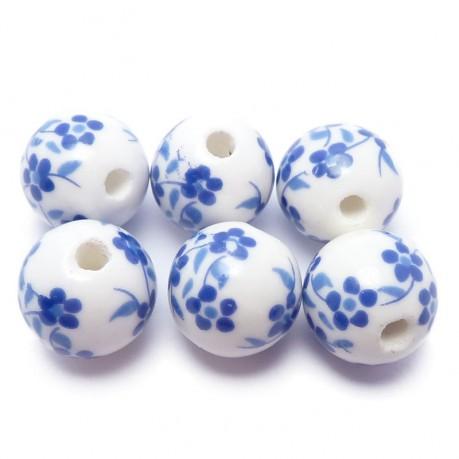 6ks Porcelánové korálky modré