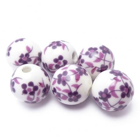 6ks Porcelánové korálky fialové