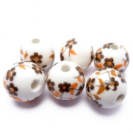 6ks Porcelánové korálky hnědé