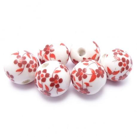 6ks Porcelánové korálky červené