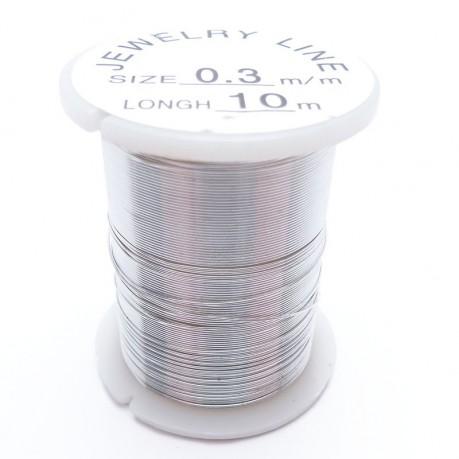 Drátek 0,3 mm stříbrný 10m