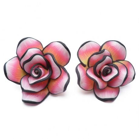 2ks Fimo růže velká růžová