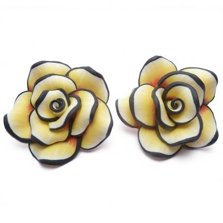 2ks Fimo růže velká žlutá