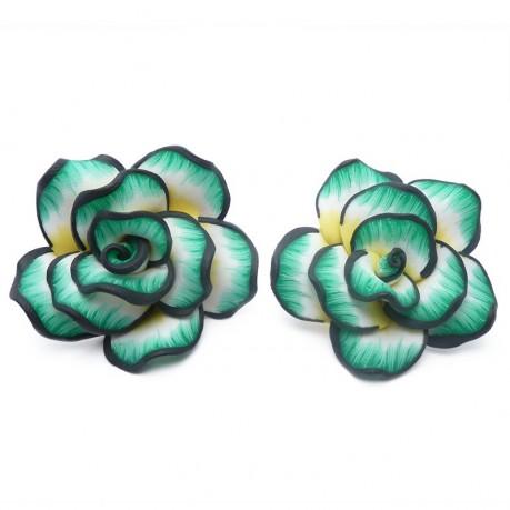2ks Fimo růže velká zelená