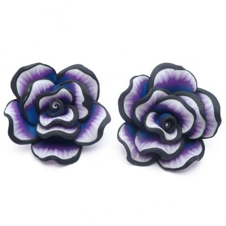 2ks Fimo růže velká fialová