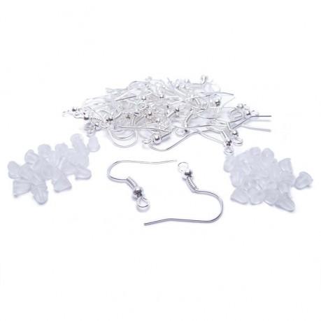 Afroháčky 40 ks stříbrné barvy + silikonové zarážky ZDARMA
