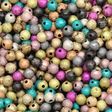 Vícebarevné třpytivé plastové korálky ~ 500ks
