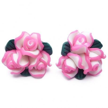2ks Fimo růžové růžičky 20mm