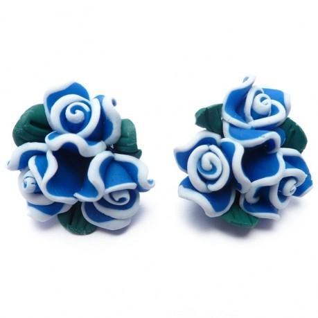 2ks Fimo modré růžičky 20mm