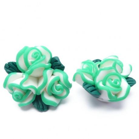 2ks Fimo zelené růžičky 20mm